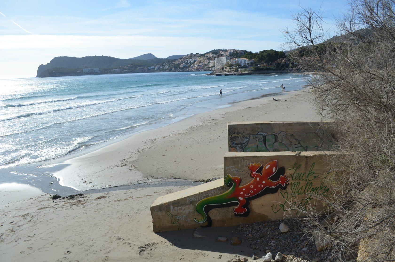 Strand in Paguera mit Spraykunst